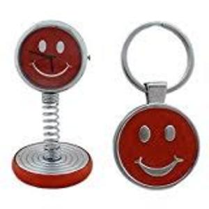 Smiley Spring Table Clock and Key Chain Set