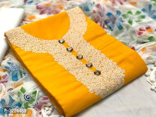 Elegant Women's Cotton Embroidered Dress Material With Dupatta