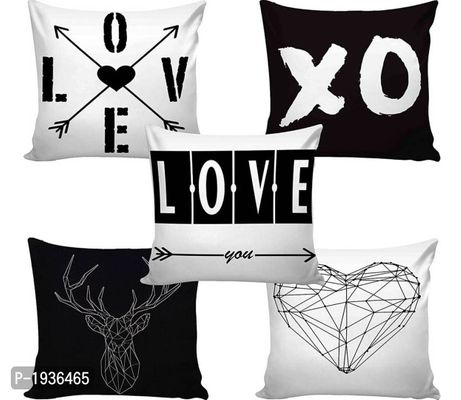 Digital Print Polyester Jute Cushion Covers-Set of 5,16