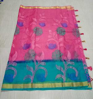 2d organza silk with embroidery work and running blouse