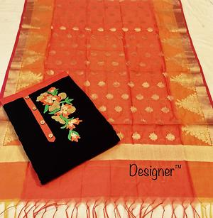 pure chanderi with ribbon work