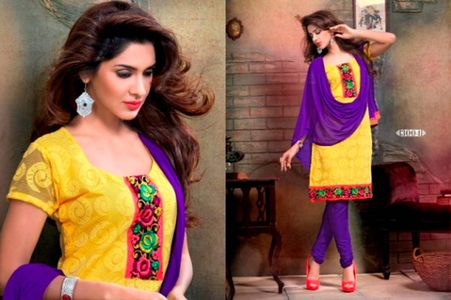 Yellow and Violet Embroidered Unstitched Suit SG04