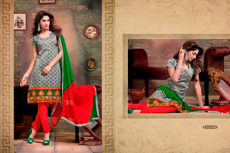 Grey and Red Embroidered Unstitched Suit SG07