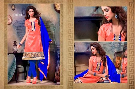 Orange and Blue Embroidered Unstitched Suit SG13