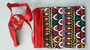 TWO ZIPPER SLING BAG WITH EMBROIDERY