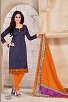 Blue and Orange Banglori Silk
