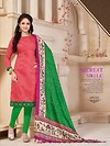 Pink and Green Banglori Silk