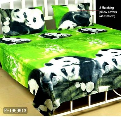 Green Animal Print Poly Cotton Double Bedsheet
