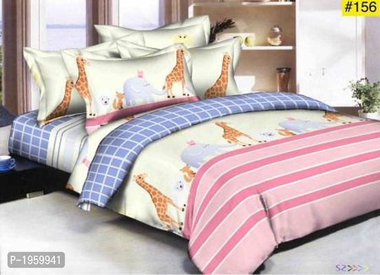 Multicoloured Animal Print Super Soft Poly Cotton Double Bedsheet