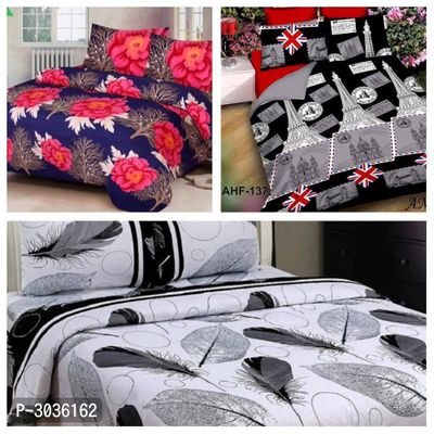 Combo Of 3 Polycotton Double Bedsheet With 6 Pillowcovers