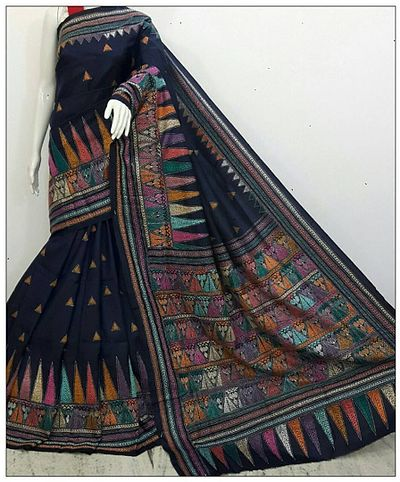 Kantha stitch Saree. A hand woven embroidery on Bangalore silk cloth prepared by trained designers and rural craftswomen of Bolpur, Shantiniketan of Bengal.