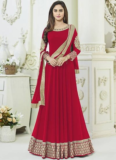 Red Embroidered Georgette Dress Material with Dupatta