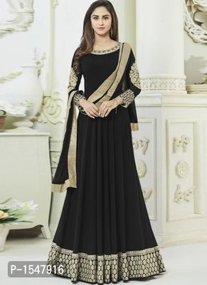 Black Embroidered Georgette Dress Material with Dupatta