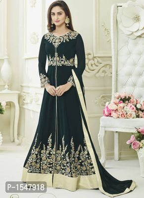 Green Embroidered Georgette Dress Material with Dupatta