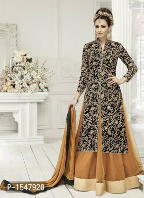 Brown Embroidered Georgette Dress Material with Dupatta