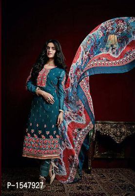 Blue Embroidered Georgette Dress Material with Dupatta