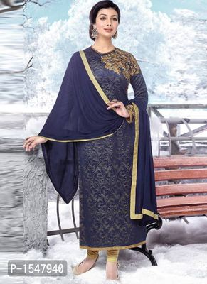 Purple Embroidered Georgette Dress Material with Dupatta