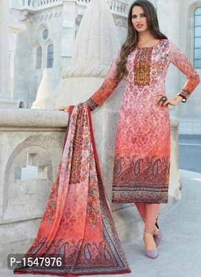 Pink Printed Georgette Dress Material with Dupatta