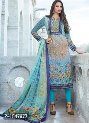Blue Printed Georgette Dress Material with Dupatta