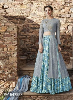 Grey Embroidered Georgette Dress Material with Dupatta