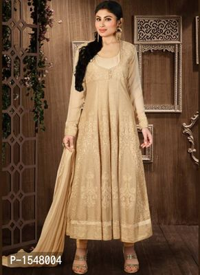 Beige Embroidered Georgette Dress Material with Dupatta