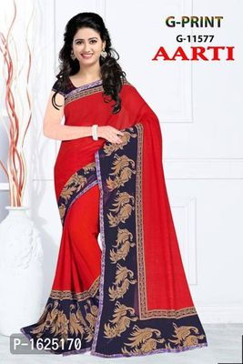 Red Printed Chiffon Saree with Blouse piece