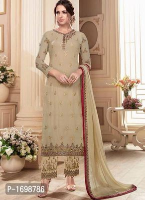 Beige Embroidered Dress Material with Dupatta