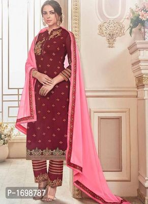 Maroon Embroidered Dress Material with Dupatta