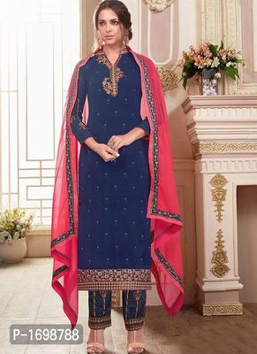 Navy Blue Embroidered Dress Material with Dupatta