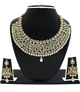 Zaveri pearls gold non precious metal necklace set