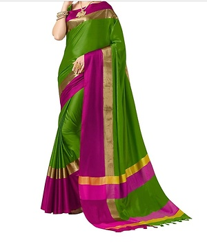 Designer green art silk saree