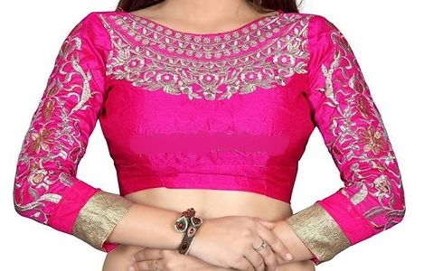 Pink embroidered unstiched blouse material