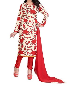 Sunday Best Selling Offer Unstiched Chiku Color Printed Dress Material