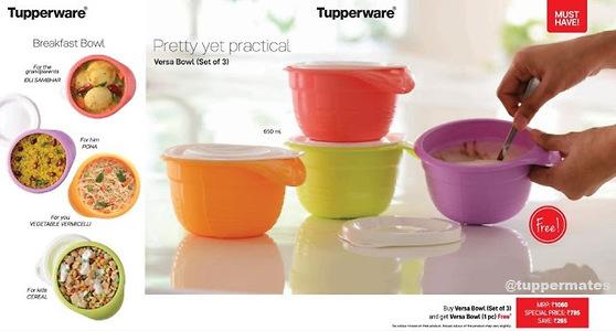 tupperware versa bowl buy set of 3 and get 1 free by Deepti Kestwal's Shop