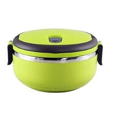 Stainless Steel Round Lunch Box, 1 Litre, Green
