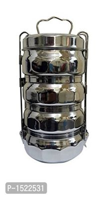 Stainless Steel Four Compartment Tiffin, Silver