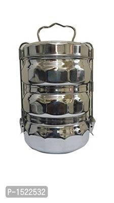 Stainless Steel Three Compartment Tiffin, Silver