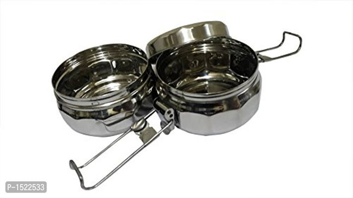 Stainless Steel Two Compartment Tiffin, Silver