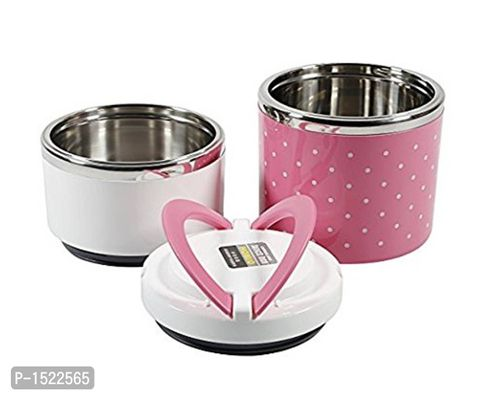 Stainless Steel Round Two Layer Lunch Box, Pink