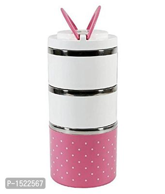 Stainless Steel Round Three Layer Lunch Box, Pink