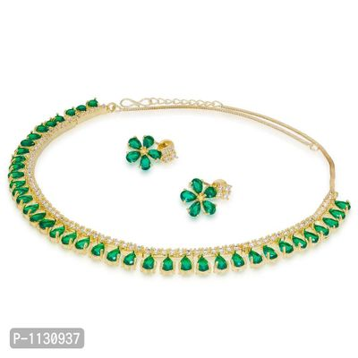 Single Strand American Diamond Necklace Set with Earrings