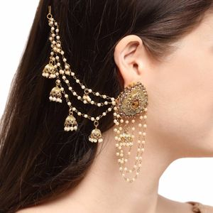 Gold Plated Stone Floral Classic Bahubali Heavy Long Chain Jhumki Earrings for women