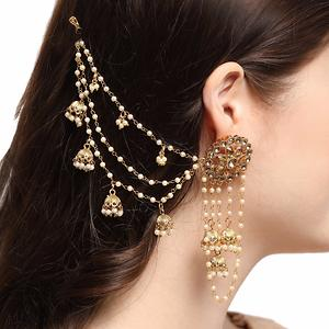 White Pearls And Stone Round Beautiful Gold Plated Bahubali Long Chain Jhumki Earrings for women