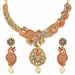 Gold Plated Alloy Floral Shape Peacock Designer Choker Necklace Set