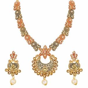 Round Pendant Gold Plated Alloy Geometric Design Strand Necklace Set