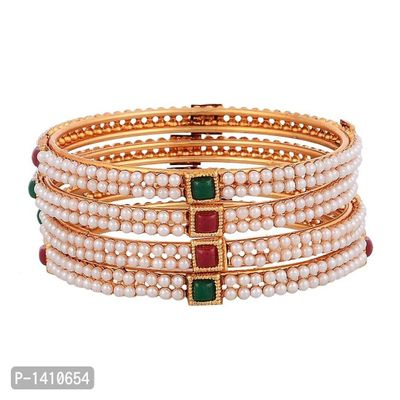 Traditional Gold Plated Pearl Bangles