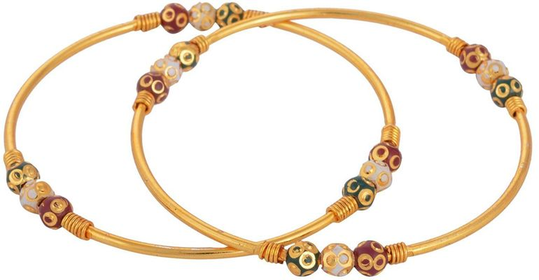 Multicolour Gold Plated Bangles Set