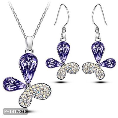 Floral Shaped Crystal Pendant With Chain and Earrings