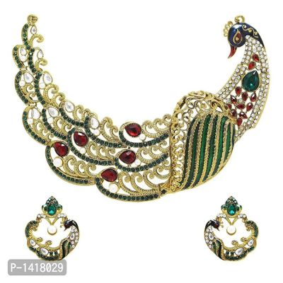 Traditional Dancing Peacock Gold Plated Necklace Set With Earrings