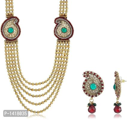 Traditional Multi Strand Necklace Set With Earrings